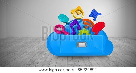 Cloud computing drawer against big room with white wall