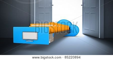Cloud computing drawer against digitally generated room