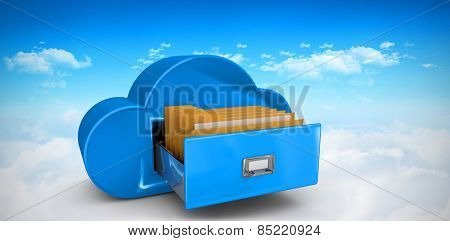 Cloud computing drawer against bright blue sky over clouds