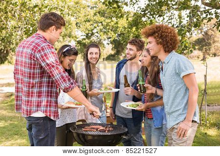 Happy friends in the park having barbecue on a sunny day