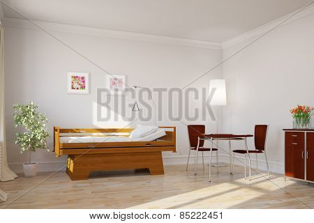 Bright clean single room with bed in hospital or nursing home (3D Rendering)