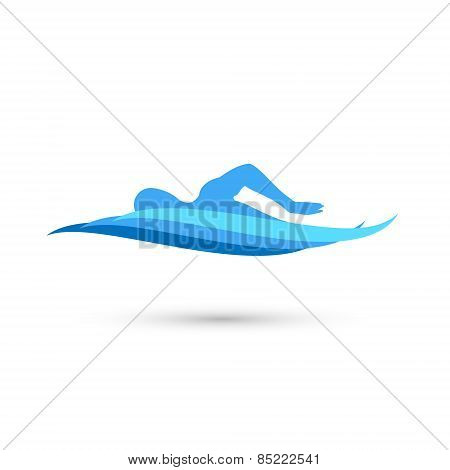Freestyle Swimmer Silhouette with Water Pool Waves. Vector Illustration