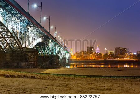 Architecture of Poniatowski bridge over Vistula river in Warsaw, Poland