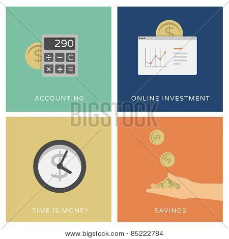 Accounting, online trading and investment services - set of flat design icons