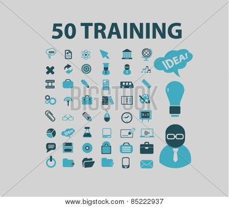 50 trainings, study, lessons icons, signs, illustrations concept design set, vector