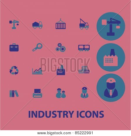 industry, factory icons, signs, illustrations concept design set, vector