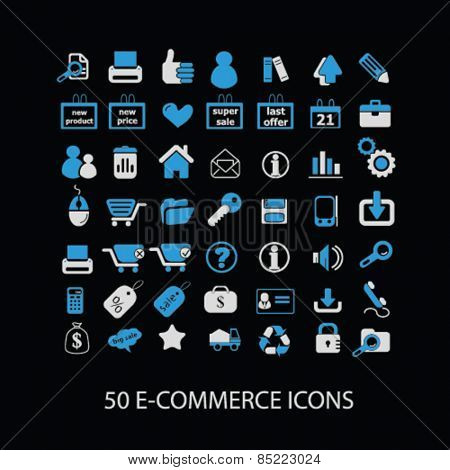 50 ecommerce, retail icons, signs, illustrations concept design set, vector