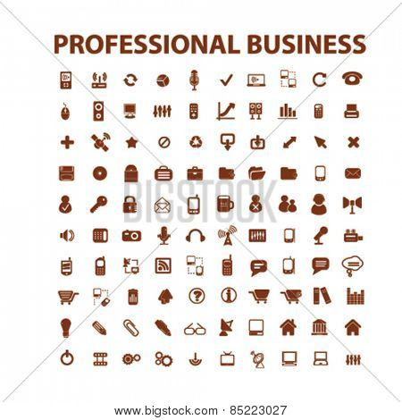 professional business, management, office icons, signs, illustrations concept design set, vector