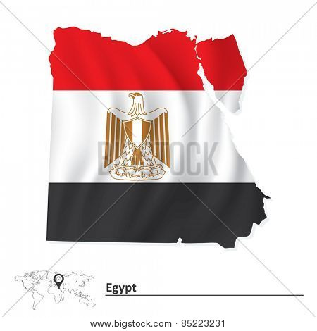 Map of Egypt with flag - vector illustration