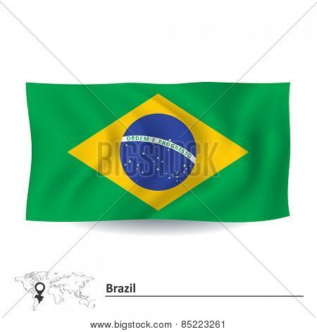 Flag of Brazil - vector illustration