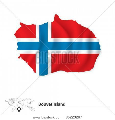 Map of Bouvet Island with flag - vector illustration