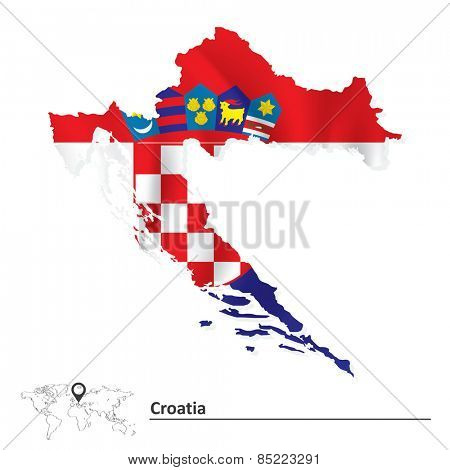 Map of Croatia with flag - vector illustration