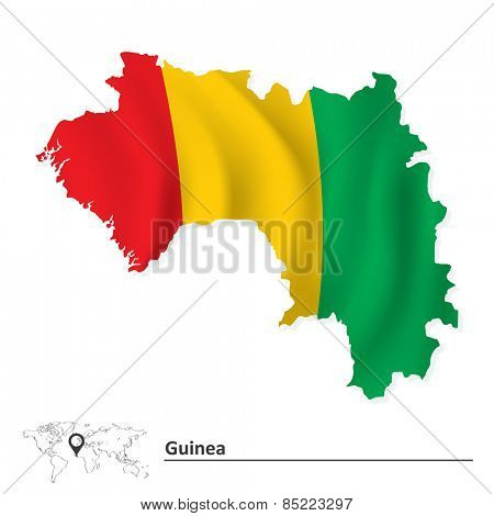 Map of Guinea with flag - vector illustration