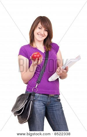 Student With Books, Bag And Apple