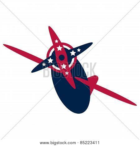 Vintage american patriotic airplane.