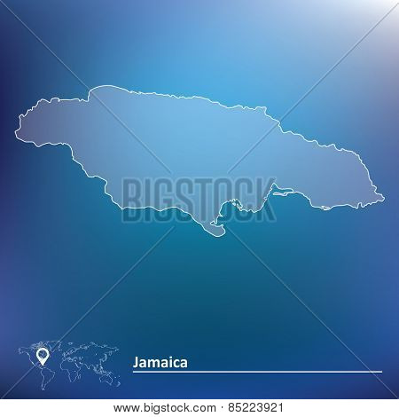 Map of Jamaica - vector illustration