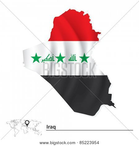 Map of Iraq with flag - vector illustration