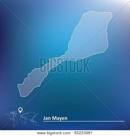 Map of Jan Mayen - vector illustration