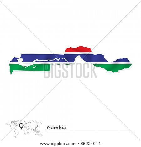 Map of Gambia with flag - vector illustration