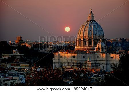 The St Peter's Basilica At Sunset - Rome - Italy