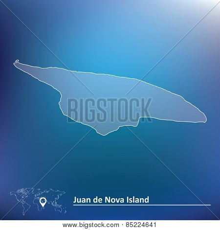 Map of Juan de Nova Island - vector illustration