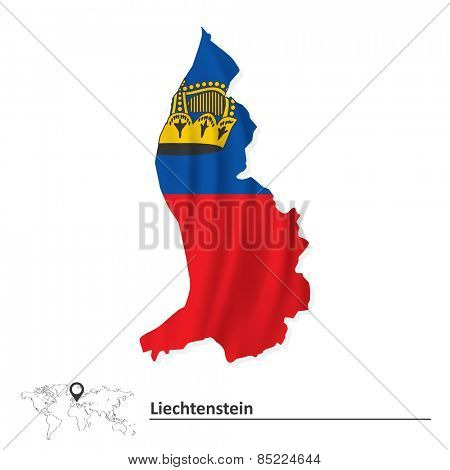 Map of Liechtenstein with flag - vector illustration