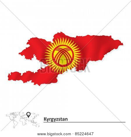 Map of Kyrgyzstan with flag - vector illustration