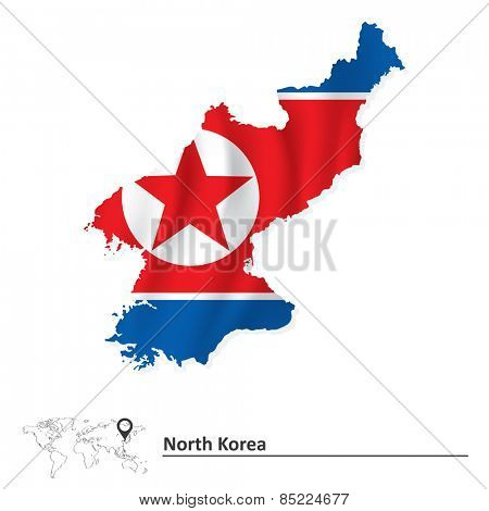 Map of North Korea with flag - vector illustration