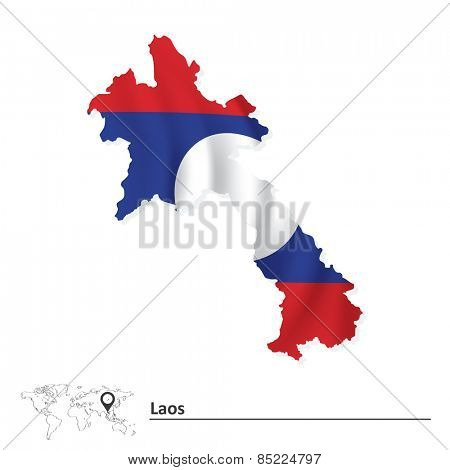 Map of Laos with flag - vector illustration