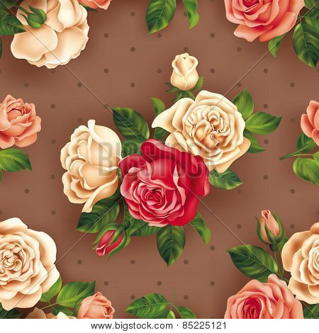 Seamless pattern with multicolored roses. Vector eps 10.