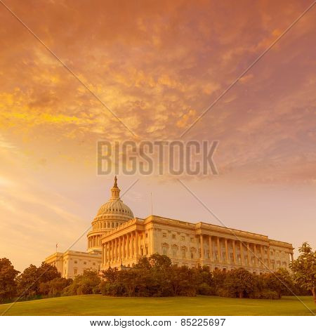 Capitol building Washington DC sunset at US congress USA