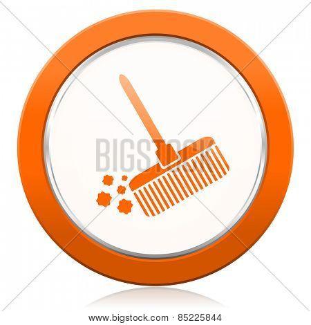 broom orange icon clean sign