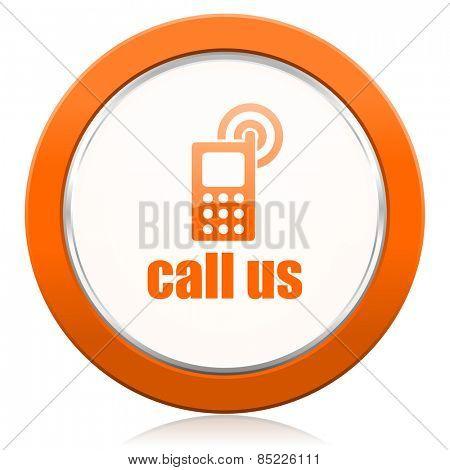 call us orange icon phone sign