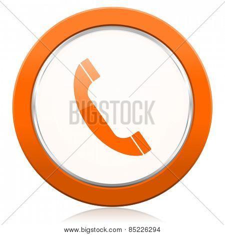 phone orange icon mobile phone sign