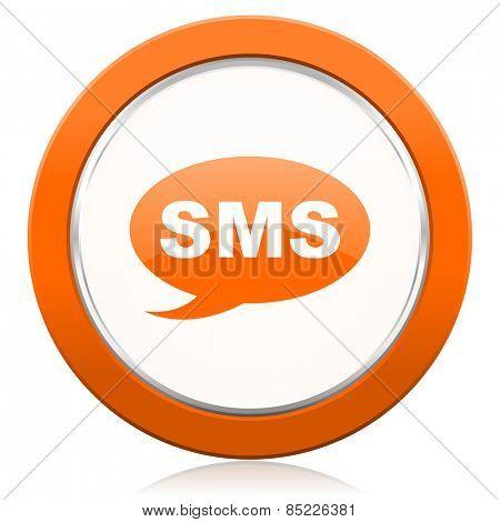 sms orange icon message sign
