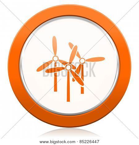windmill orange icon renewable energy sign