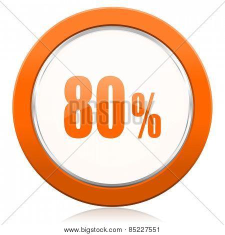 80 percent orange icon sale sign