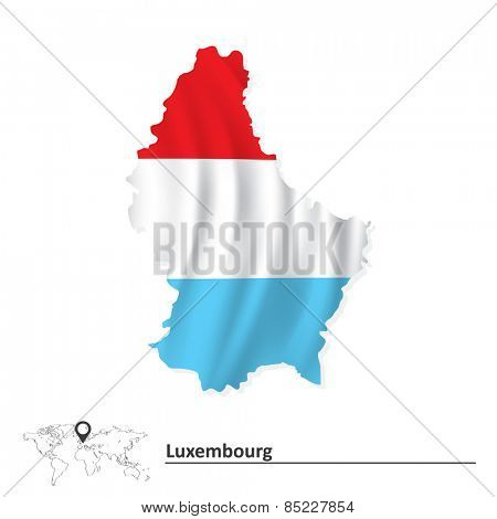 Map of Luxembourg with flag - vector illustration