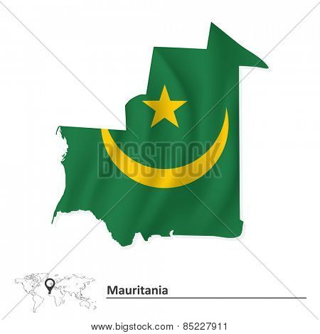 Map of Mauritania with flag - vector illustration