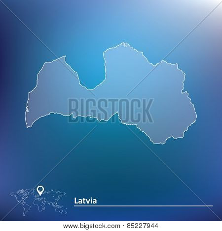 Map of Latvia - vector illustration