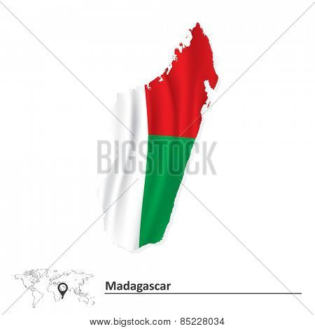 Map of Madagascar with flag - vector illustration