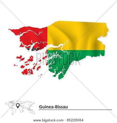 Map of Guinea-Bissau with flag - vector illustration