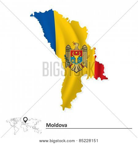 Map of Moldova with flag - vector illustration