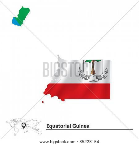 Map of Equatorial Guinea with flag - vector illustration