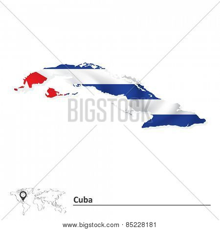 Map of Cuba with flag - vector illustration