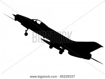 Modern jet fighter on a white background