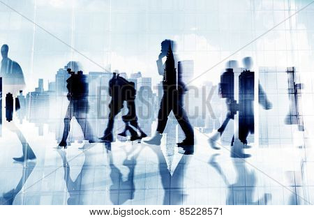 Business People Phone Walking Commuting Concept