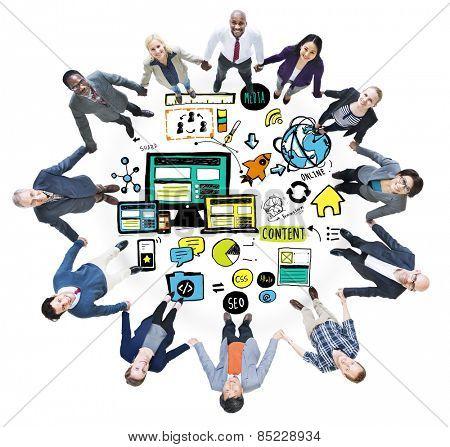 Business People Responsive Design Media Teamwork Support Concept