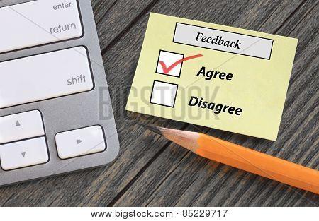 feedback form showing agreement