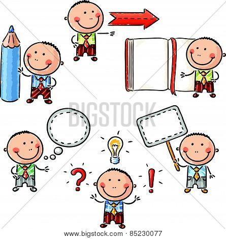 Businessman with different objects like book, pencil or speech bubble
